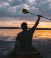 happy man in kayak
